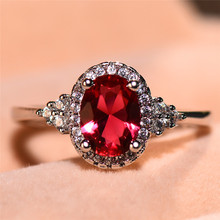 Charm Female Rose Red Oval Ring Fashion Silver Color Wedding