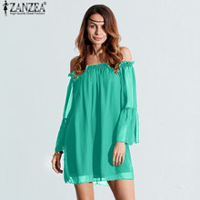 ZANZEA 2017 Women Casual Loose Summer Dress Sexy Slash Neck Off Shoulder Flare Sleeve Femininas Vestidos Plus Size Dresses S-3XL