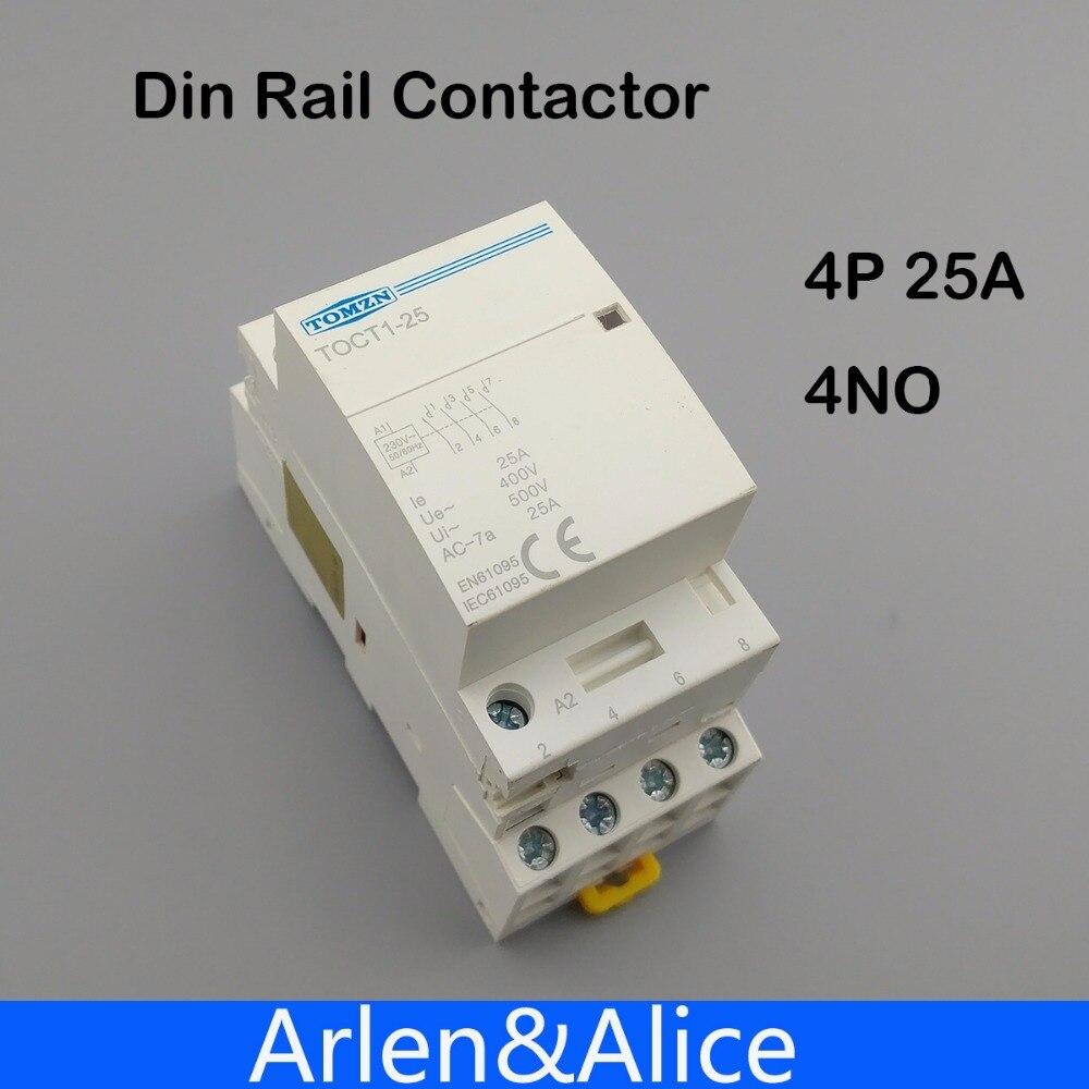 TOCT1 4P 25A 220V/230V 50/60HZ Din rail Household ac Modular contactor 4NO 4p 115a magnetic ac contactor 4no lc1 f115004 power contactor