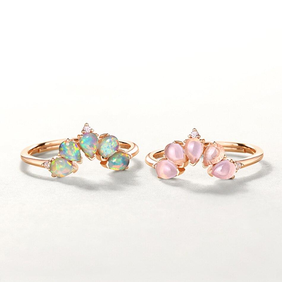 ALLNOEL 2019 Real 925 Sterling Silver Ring For Women 100% Natural Rose Quartz Blue Topaz Labradorite Gemstone Stack Fine Jewelry (8)