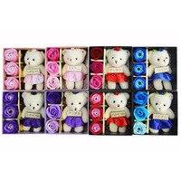 De kleine geschenkdoos rose bloem zeep zeep bloem bloem en beer de promotionele activiteiten van bruiloft groothandel