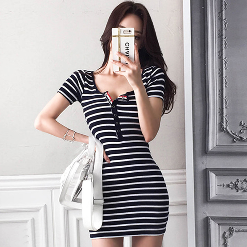 2018 Summer Short Sleeve Striped Bodycon Cloth Women Mini Sexy Casual Day Dress