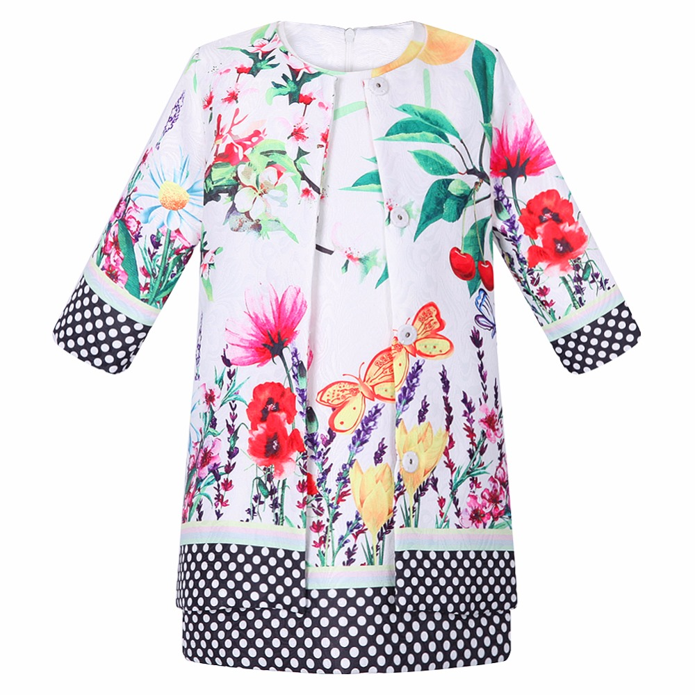 Girls Clothes Roupas Infantis 2017 Brand Children Clothing Sets Girls Outfits Butterfly Flower Jackets+Dress Kids Tracksuits girls clothes children clothing 2017 brand girl clothing sets roupas infantis animal casual kids clothes