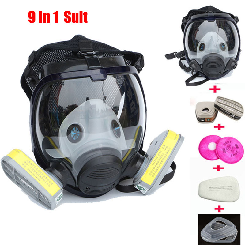 9 En 1 Costume L'industrie De Pulvérisation De Peinture masque À Gaz Même pour 3 M 6800 Plein Visage Chemcial Respirateur Gaz De La Poussière masque