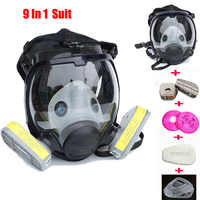 9 In 1 Anzug Industrie Malerei Spray Gas maske Gleiche Für 3 M 6800 Volle Gesicht Chemische Atemschutz Staub Gas maske