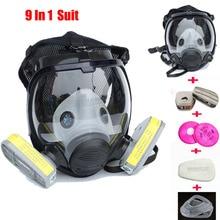9 In 1 Pak Industrie Schilderen Spray Gas Masker Hetzelfde Voor 3 M 6800 Volledige Gezicht Chemische Respirator Dust Gas masker