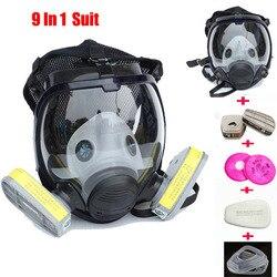 Indústria 9 em 1 Terno Pintura Spray Mesmo Para 3 M 6800 Rosto Cheio de máscara de Gás Químico Respirador de Poeira de Gás máscara