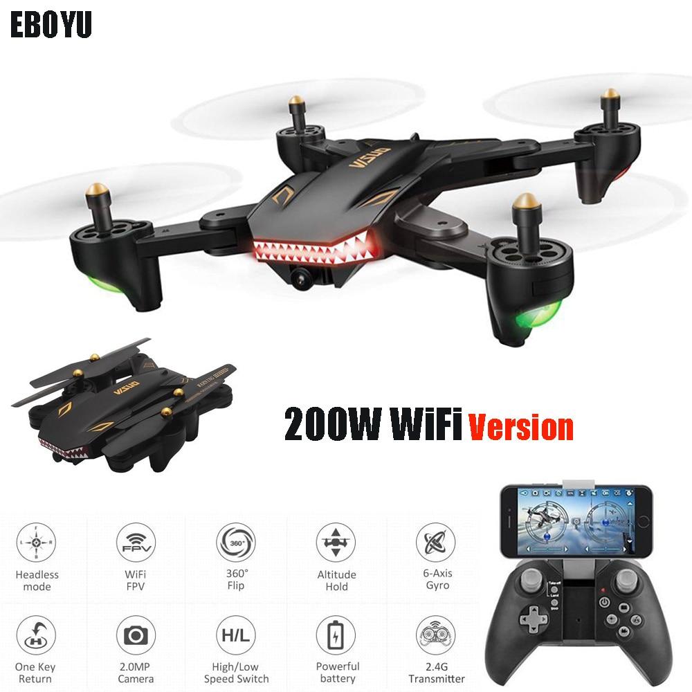 EBOYU XS809S-HD 2.0MP 720 P HD della Macchina Fotografica Wifi FPV Pieghevole Drone Una Chiave di Ritorno il Mantenimento di Quota G-sensor RC Quadcopter Drone RTF