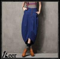 Bohemian Vintage Long Asymmetrical Maxi Denim Skirt For Women 2015 Spring Autumn Boho Hippie Design Irregular
