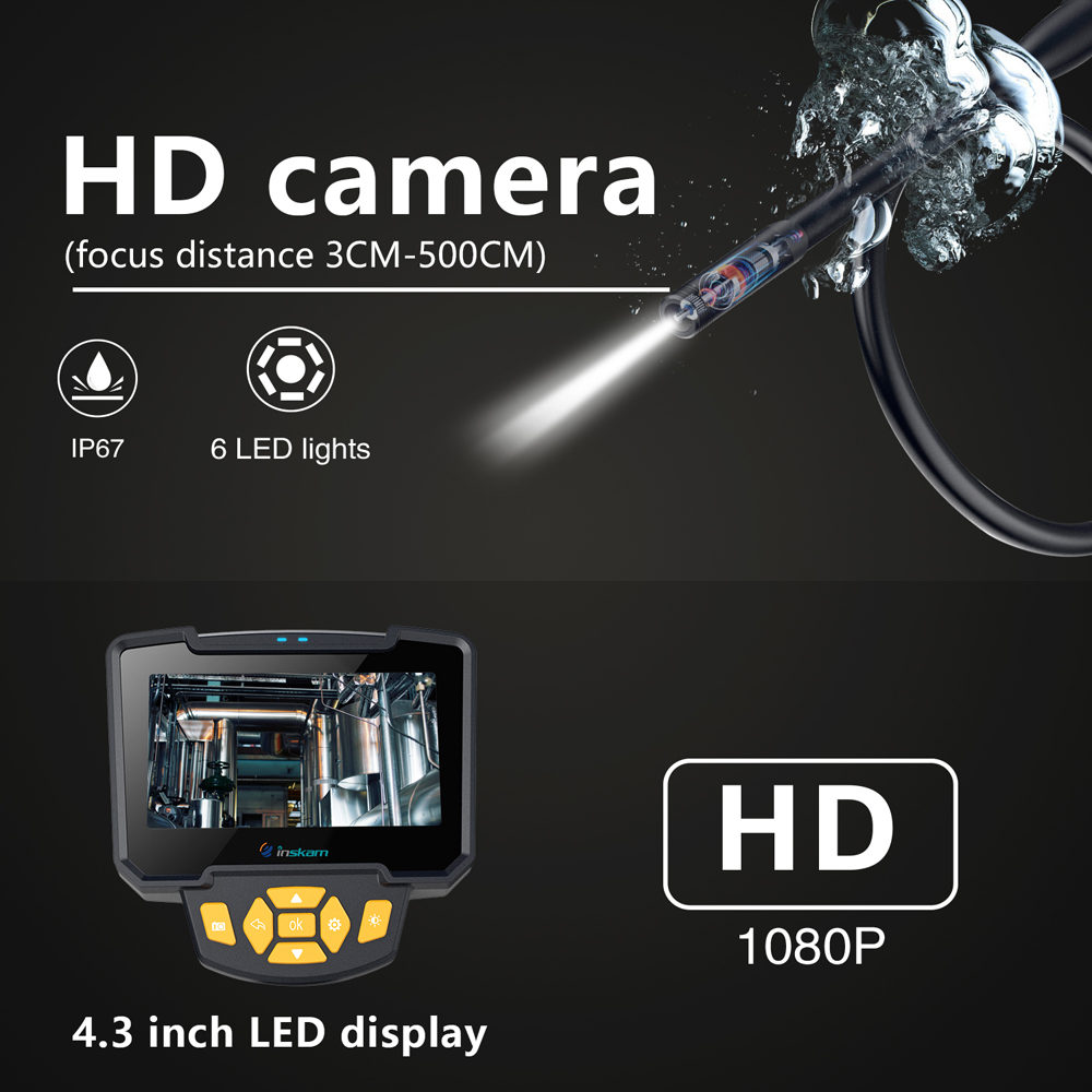 Image 2 - Digital Industrial Endoscope 4.3 inch LCD Borescope Videoscope with CMOS Sensor Semi Rigid Inspection Camera Handheld Endoscope-in Surveillance Cameras from Security & Protection
