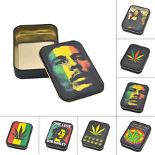 [HORNET] New King Size Metal Reggae Rasta Tobacco Box Size (110mm*80mm) Cigarette Case with Sticker(China)