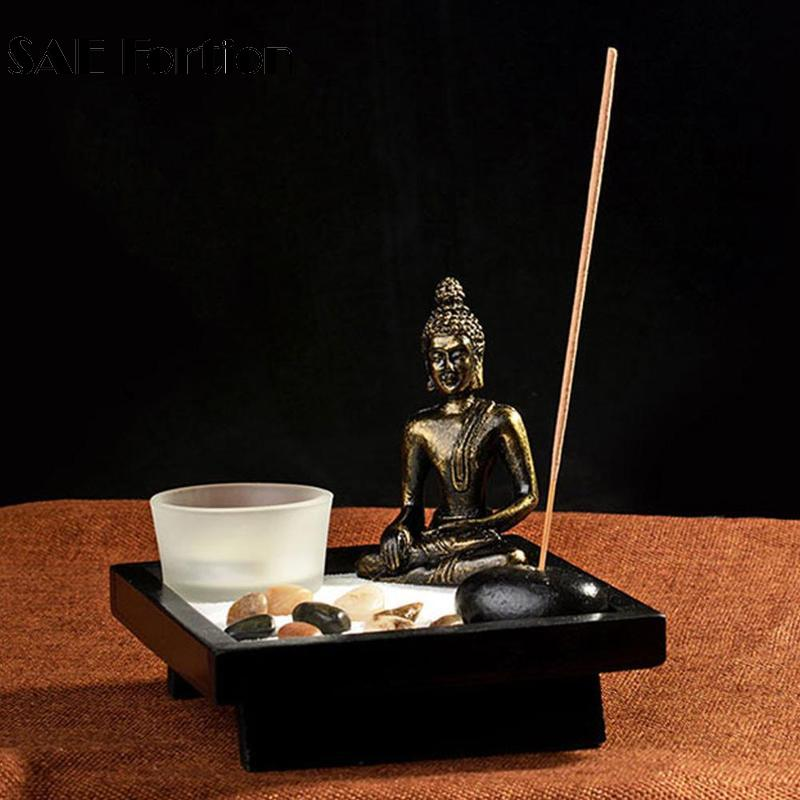EZLIFE Zen Buddha Harz Sand Duft Kerzenhalter Teelicht Räucherstäbchenhalter Hause Buddha Kerzenhalter Dekoration Feng Shui Handwerk