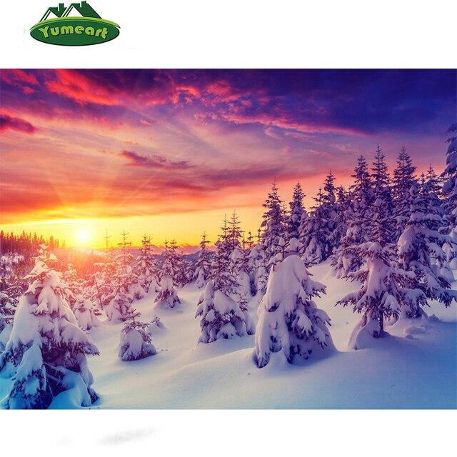 Diamante pintura invierno amanecer natural nevado árbol imagen ...