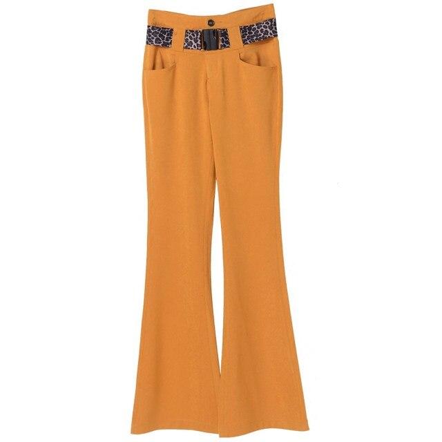 acc57e303d4c Earoomze 2018 Printemps Automne Femmes de Slim Flare Jambe Pantalon De Mode  Office Lady Travail De Haute Taille Pantalon Femme Casual Jaune pantalon