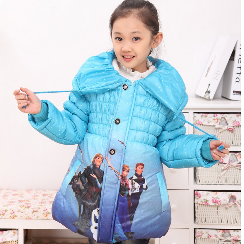 3a01577c7 Girls Winter Cartoon Down Jacket Elsa Anna Cinderella Christmas Coat ...