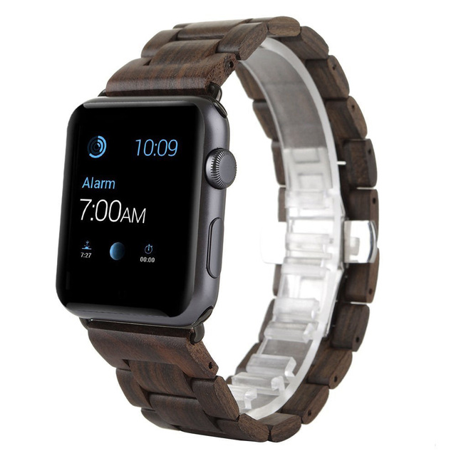 100% New Retro Natural Bamboo Watchbands Wood Watch strap 1:1 For iWatch Wooden