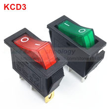 5 Stks/partij Delicate Tuimelschakelaar Kcd 3 13*30 Mm Ac 250V 15A 3 Pin Rood Groen Met led On/Off I/O Spst Snap In Mini Boot(China)