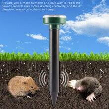 4pcs שמש מופעל Ultra sonic sonic עכבר השומה הדברה מכרסמים Repeller דוחה חצר LED אור Repeller חיצוני מנורת חצר גן