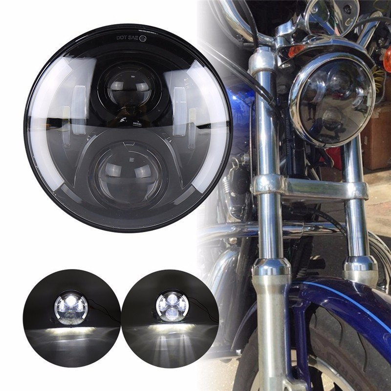 купить 7 Inch H4 Led Motorcycle Headlight CCFL High Low For Harley With Halo Angel Eye DRL Lights For Harely Softail Dyna Sportster недорого