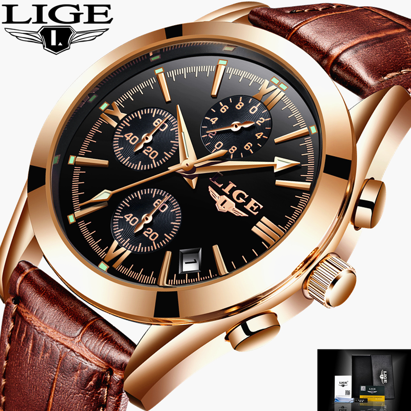 LIGE Watch Men Sport Quartz Fashion Leather Clock Mens Watches Top Brand Luxury Waterproof Business Watch Man Relogio Masculino lige mens watches top brand luxury man fashion business quartz watch men sport full steel waterproof clock erkek kol saati box