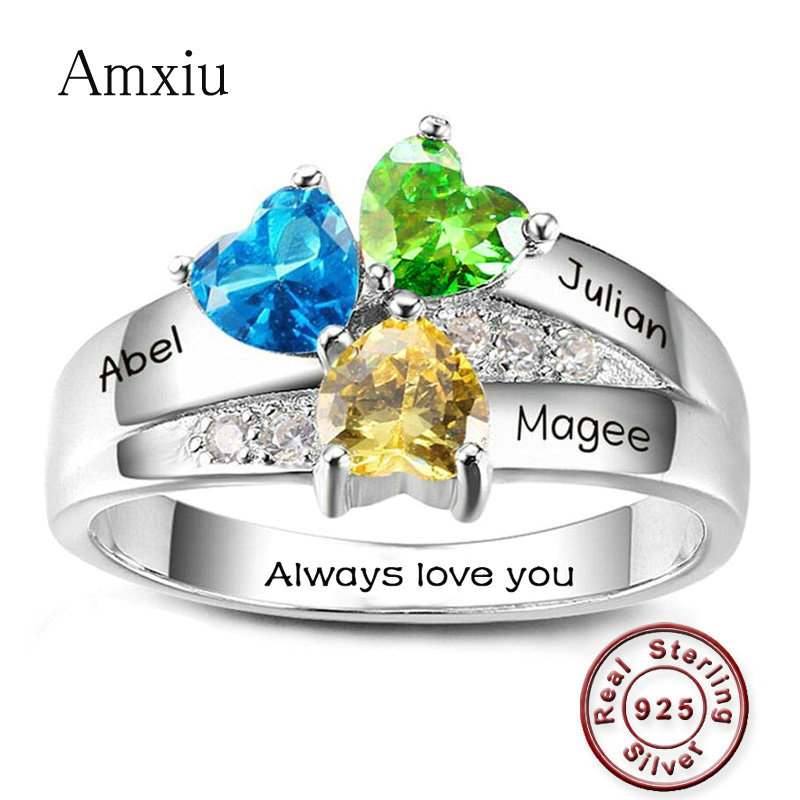 Amxiu Customize 925 Sterling Silver Ring DIY Personalized Family Name Ring Engrave Three Names Rings For Women Mother's Day Gift