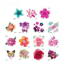 15 Sheet Mini Size Flower Collection Temporary Tattoos Sticker 3D Peony Floral Waterproof Fake Tattoo Body Art Kids Women