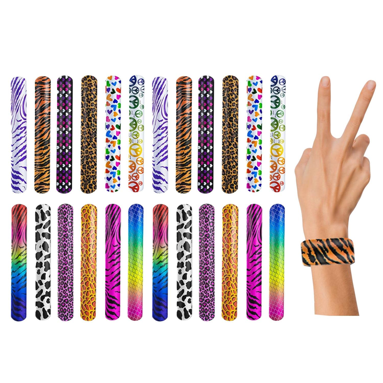 Besegad 60 Colorful Fashion Slap Bracelets Wristbands Flexible Slap Band Wrist Strap Novelty Toys Gags Practica Favors Supplies