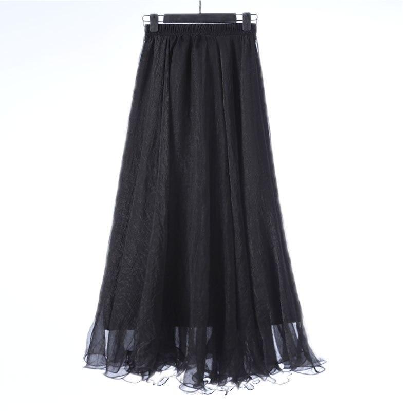 Sherhure 19 High Waist Women Chiffon Long Skirts Floor Length Ruffles White Summer Boho Maxi Skirt Saia Longa Faldas 38