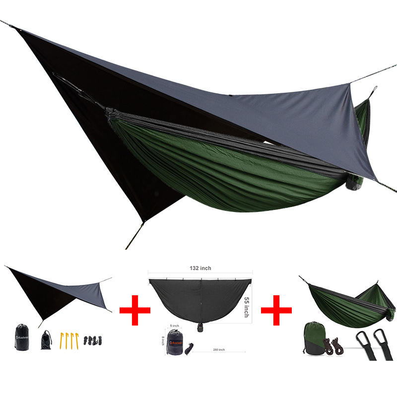 ACEHMKS double person strong camping hammock  easy to set mosquito net waterproof rain tarp can be used as a mat 3 in one packetACEHMKS double person strong camping hammock  easy to set mosquito net waterproof rain tarp can be used as a mat 3 in one packet