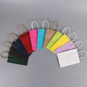 Image 4 - 50PCS 21x15x8cm DIY Multifunktions weiche farbe papier tasche mit griffen Festival geschenk tasche einkaufen taschen kraft papier verpackung tasche