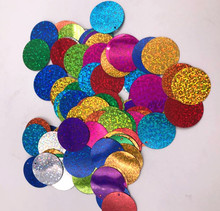 150pcs 30mm laser mixed Large Round flat Sequins PVC Loose Paillettes For Crafts  Free shipping