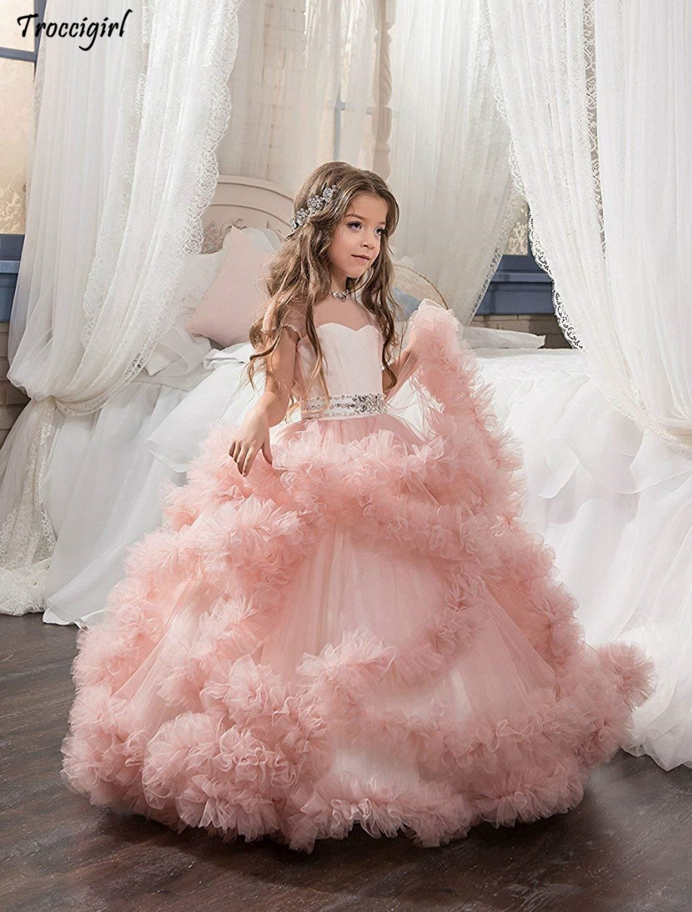 83-1               Girl's Pageant Dresses Flower Girl Dress Fancy Tulle Satin Lace Cap Sleeves Pageant Girls Ball Gown Pink Ivory