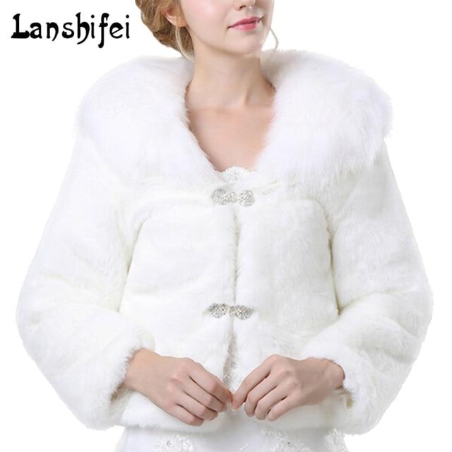 e4f933129 € 23.14 27% de DESCUENTO|Abrigo blanco de piel sintética para mujer vestido  de boda chal abrigo de manga larga con cuello para mujer Otoño ...