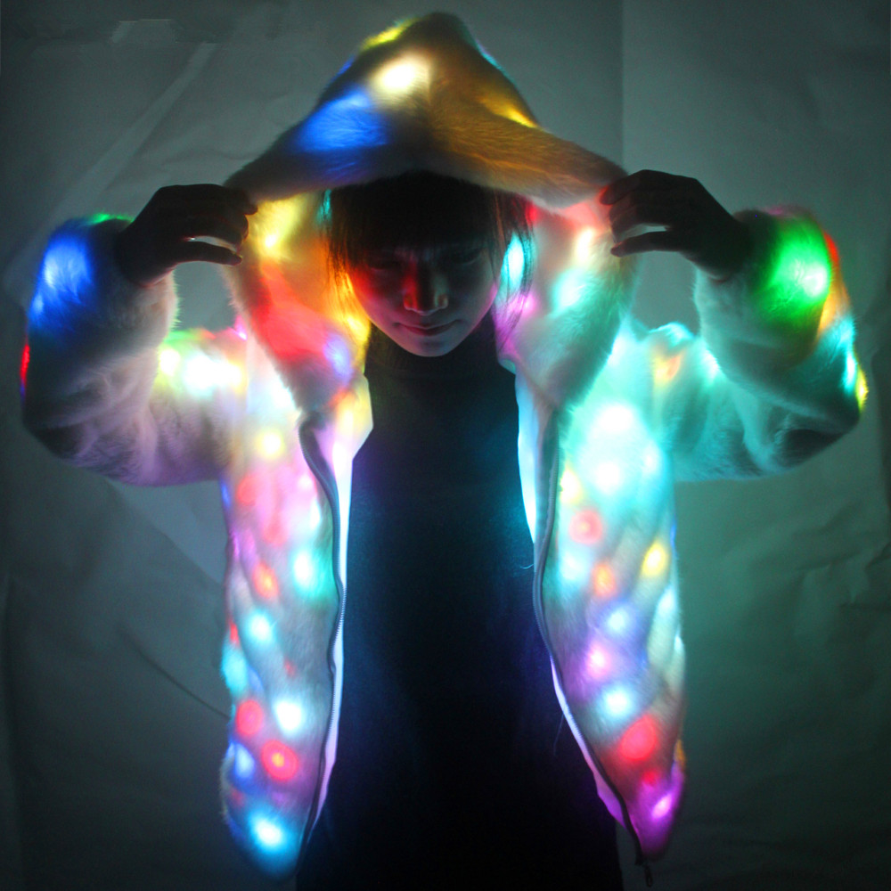 LED Luminous Faux Fur Coat Lady Bar Dance Show Nightclub Clothes, LED DJ Costumes. Christmas, Halloween Party, Cospaly Suit