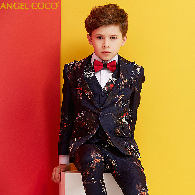 721e0a78f Boys Suits For Weddings Light blue print Blazers For Boys Suit ...