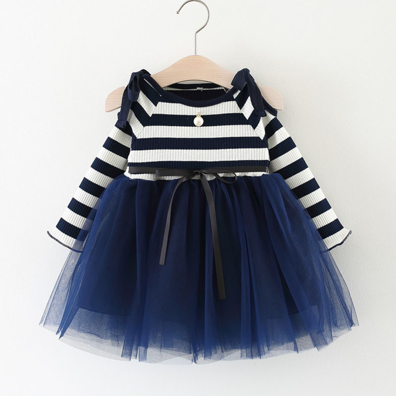 Baby Clothing Brand New 2018 Baby Girls Dresses Long Sleeve Striped Bow Stitching Net Yarn Birthday Party Dress Girls Clothes