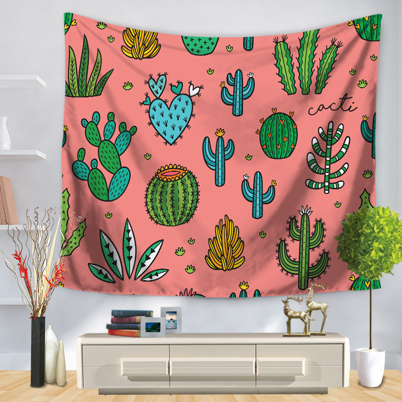 Home Decorative Wall Hanging Carpet Tapestry Rectangle Bedspread cactus Painting Pattern GT1223