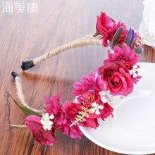 Haimeikang головные уборы цветок Красочный Цветок Цветочные головная повязка, аксессуары для волос новая невеста оголовье с цветком в богемном стиле Пляжный головной убор
