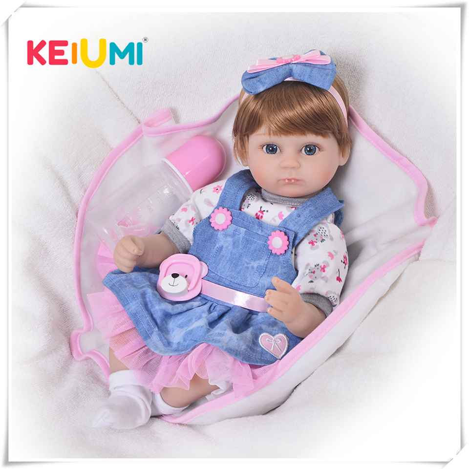 DIY Reborn Baby Doll Toy Cosplay Girl with Skit Clothes 17 Soft Silicone Stuffed Realistic Dolls