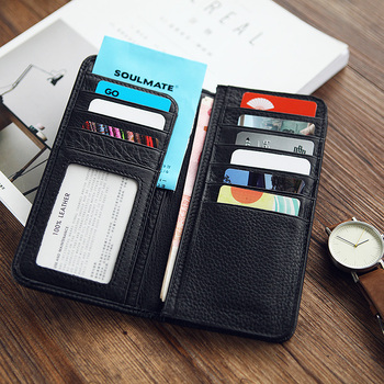 LANSPACE prawdziwej męskie portfele skórzane projektant portmonetki posiadacze znane marki torebka tanie i dobre opinie Prawdziwej skóry Skóra bydlęca Nie zamek Uwaga przedziału Posiadacz karty Długi Standardowe portfele 18cm Stałe LW015