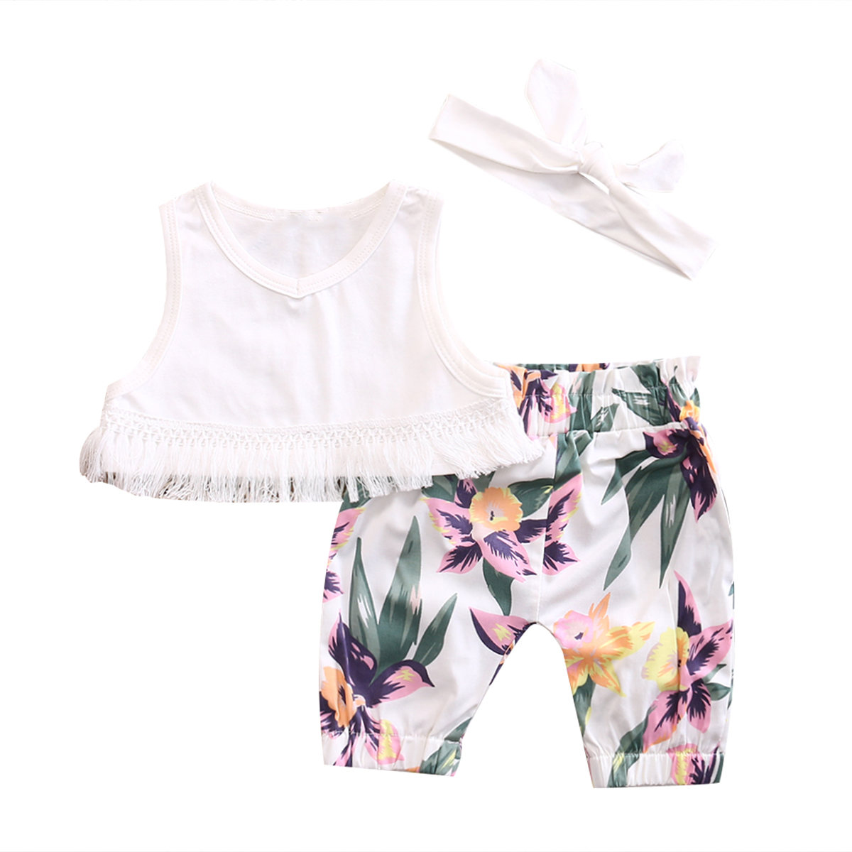 Cute Newborn Infant Baby Girl Clothes Sleeveless Tassel Vest Crop Tops Floral Shorts Headband Outfit 3PCS Baby Summer Clothes