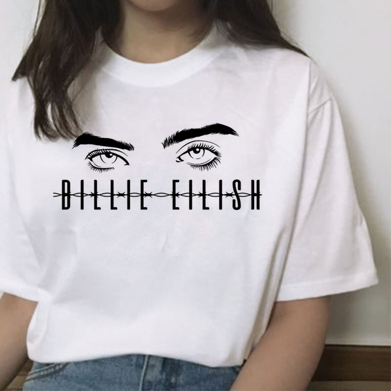 Fashion Tshirt 90s Grunge Streetwear Harajuku Funny Billie Eilish Female Ulzzang Casual
