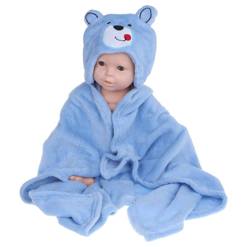 Cute Baby Bath Blanket Newborn Kids Children Hoodie Wipe Cloak Animal Hat Hooded Bathing Suit Soft Comfortable Fleece Blanket