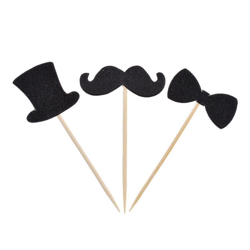 US $0 57 31% OFF 10pcs Mr Tie Gentleman Hat Bow Beard Cake Topper Birthday  Cupcake Toppers Cake Baking Decor Supplies-in Cake Decorating Supplies from