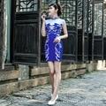2016 Fashion Blue And White Porcelain Short Cheongsam Dress Chinese Dresses For Women Qipao Vestido Oriental Qi Pao Hot Sale