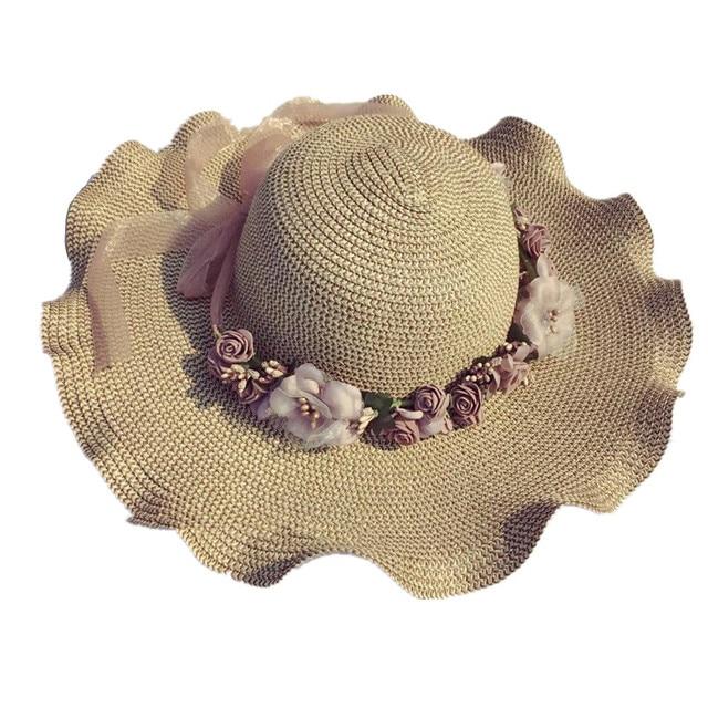 Stitching Flowers Sun Hat Lady Ribbon Bow Straw Cap Summer Shade UV  Protection Visor Hat Large Wavy Side Fashion Design 1723c2ac9f1d