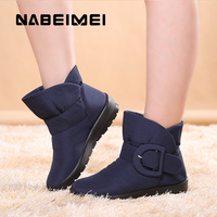 Women Ankle Boots Warm Fur Winter Shoes Woman Waterproof Snow Boots Buckle Wedges Slip On Plush