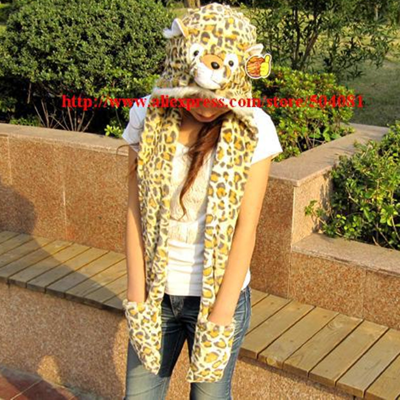 2017 Fashion Style ! Free Shipping Tiger Leopard Hat Cartoon Animal Hat Plush Soft Warm Cap, Scarf, Hat & Glove Sets