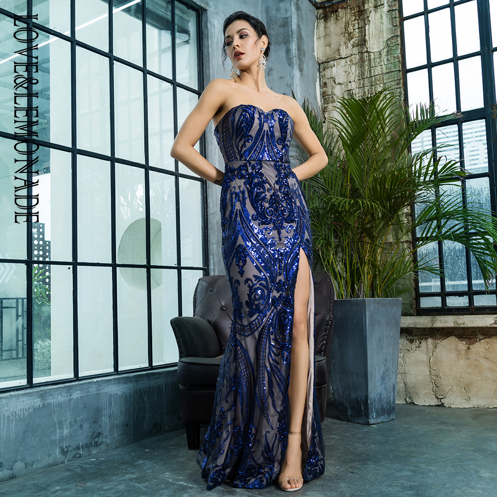 Love Lemonade Sexy Strapless Cut Out Geometric Pattern Sequins Bodycon Maxi Dress LM81342 2 NAVY