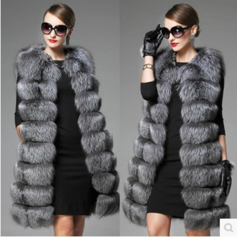Woman Spring Plus Size Long Advanced Imitation Fox Fur Overcoat Female Autumn Oversized Thick Fur Vests